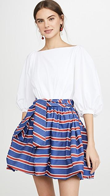 Mini Dress With Striped Skirt レディース