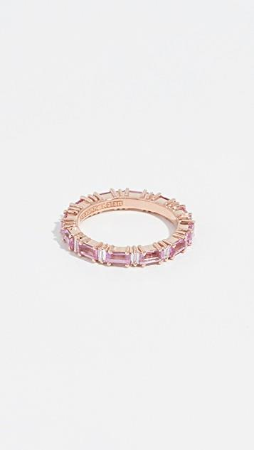 18k Rose Gold Rainbow Pink Sapphire Baguettes Ring レディース