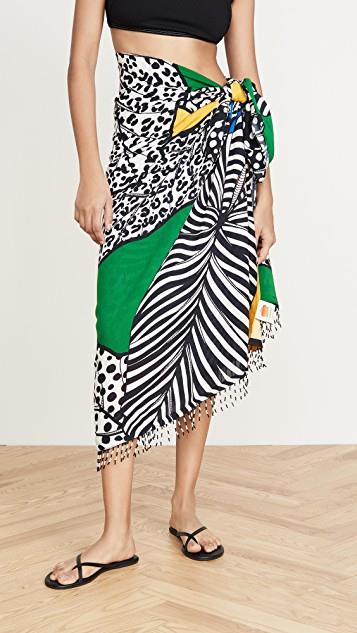 Patchwork Leaves Sarong レディース