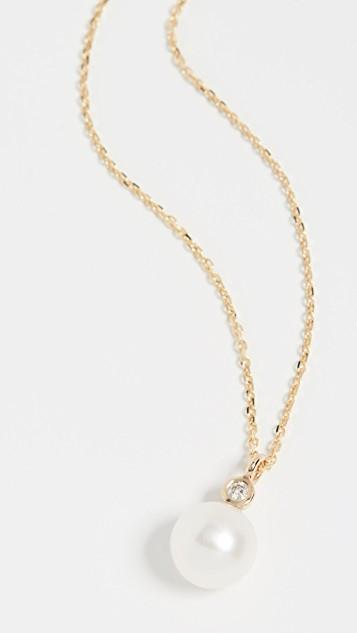 14k Freshwater Cultured Pearl and Diamond Necklace レディース