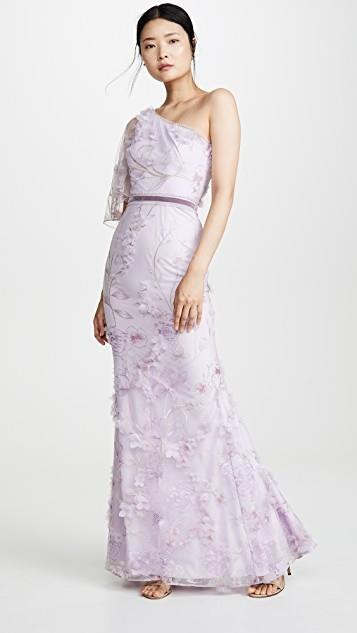 One Shoulder Embroidered Tulle Mermaid Gown レディース