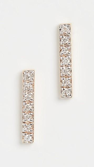 14k Mini Diamond Bar Earrings レディース