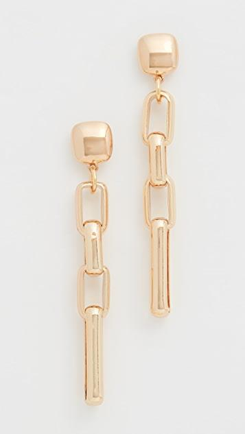 Gold Square Top Rectangular Link Post Earrings レディース