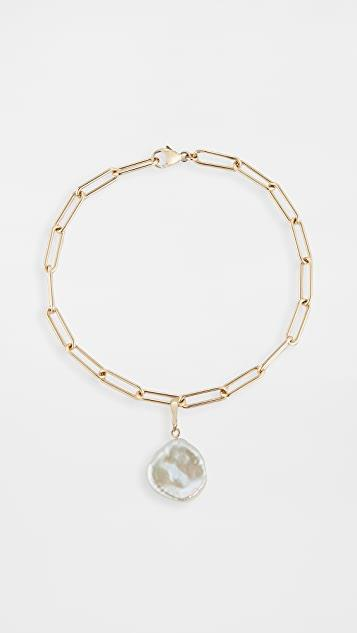 14k Rounded Long Link Bracelet with Baroque Pearl レディース