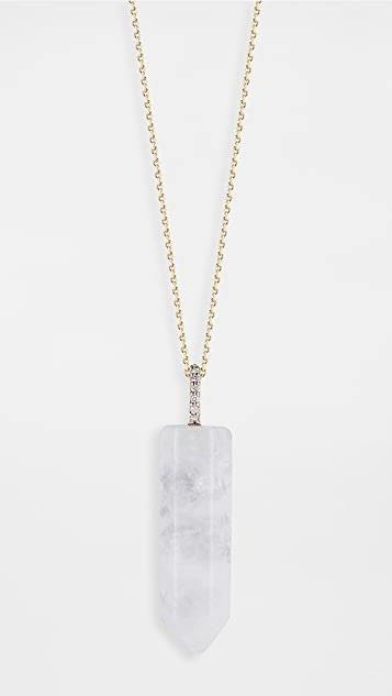 14k Gold and Diamond Healing Crystal Necklace レディース