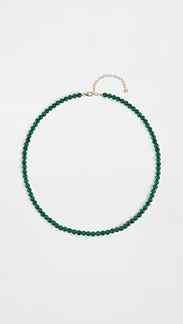 14k Malachite Beaded Choker - 4mm Beads レディース