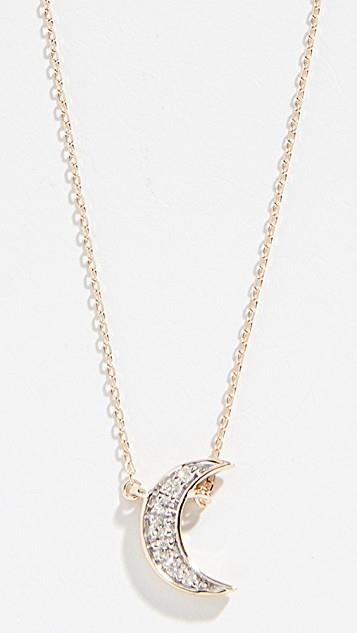 14k Tiny Pave Crescent Necklace レディース
