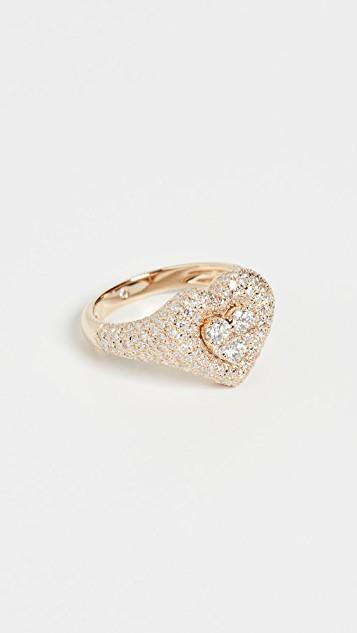 18k Pave Heart Pinky Ring レディース