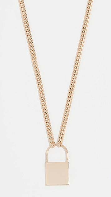 14k Gold Large Padlock Necklace レディース