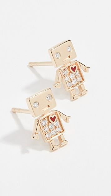 14k Gold Love Robot Stud Earrings レディース
