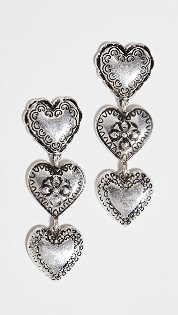 Silver Heart Drop Earrings レディース