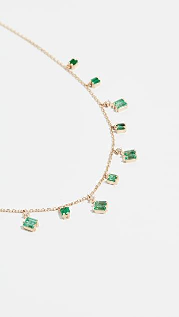 18k Gold Cascading Emeralds Necklace レディース