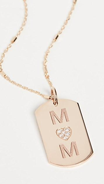 14k Gold Small Dog Tag Engraved Necklace レディース