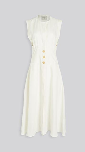 Dishna Linen Dress with Gold Buttons レディース