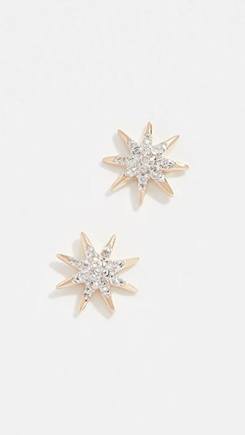 14k Gold Solid Pave Starburst Earrings レディース