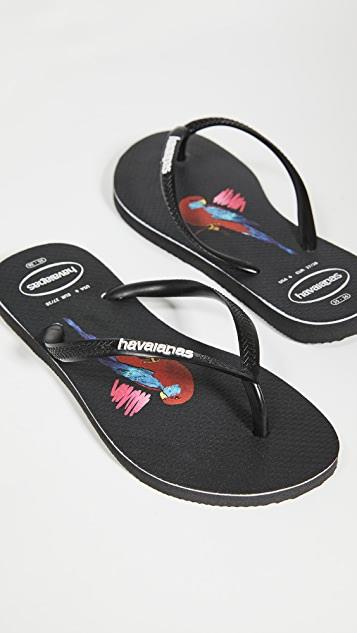 Slim Placement Flip Flops レディース