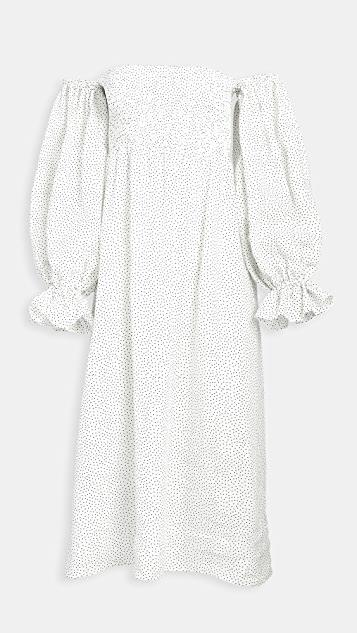 Atlanta Linen Dress in Micro Polka Dot レディース