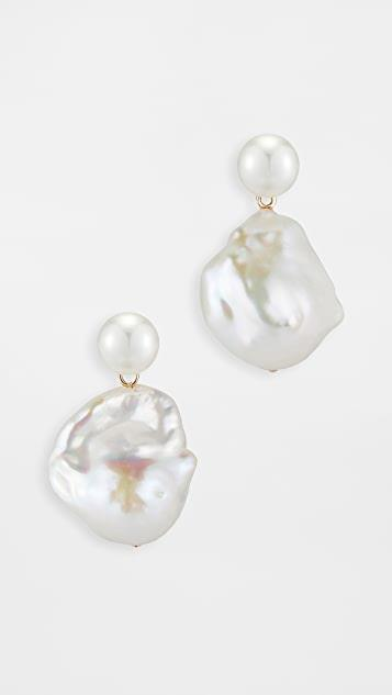 14k Duality Pearl Drop Earrings レディース