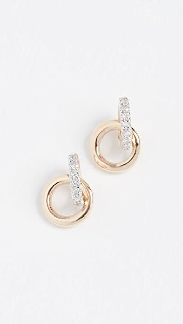 14k Diamond Interlocking Loop Post Earrings レディース