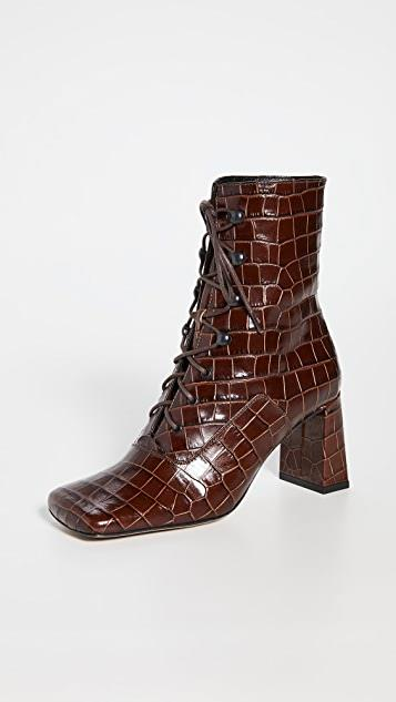 Claude Croco Lace Up Booties レディース