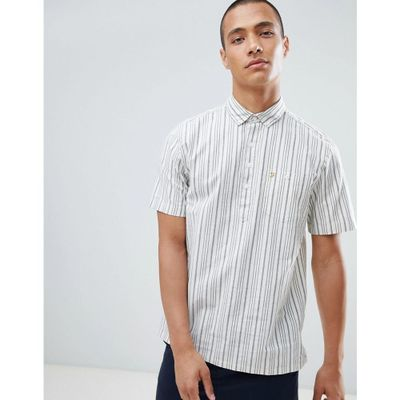 ファーラー 半袖シャツ Calderdale Pop Over Stripe Short Sleeve Shirt in Navy