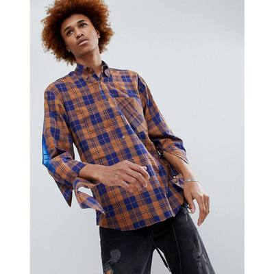 ディー アンチドート シャツ D-Antidote Oversized Check Shirt With Sleeve Print Brown