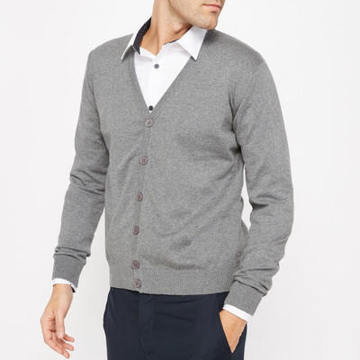 ラ ルドゥート カーディガン 100% Cotton Buttoned Cardigan grey marl