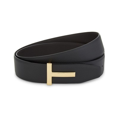 トム フォード ベルト reversible t logo leather belt Black/brown gld
