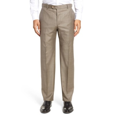 ヒッキーフリーマン スラックス Classic B Fit Flat Front Solid Wool Trousers Tan Sharkskin