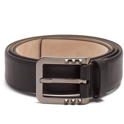 ヴァレンティノ ベルト Studded-buckle leather belt Black