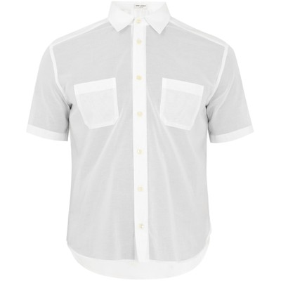 イヴ サンローラン 半袖シャツ Patch-pocket short-sleeved cotton shirt White
