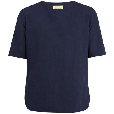 デ ボン ファクチャー 半袖シャツ Crew-neck short-sleeve linen-blend top Indigo-blue