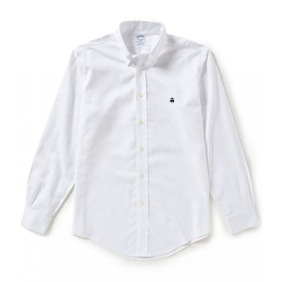 ブルックス シャツ Non-Iron Regent Fit Solid Oxford Woven Shirt White