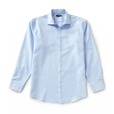 ムラノ シャツ Wardrobe Essentials Ultimate Modern Comfort Stretch Long-Sleeve Spread-Collar Textured Sportshirt Light Blue