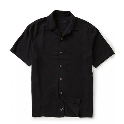 トミー バハマ 半袖シャツ Short-Sleeve Luau Floral Woven Shirt Black