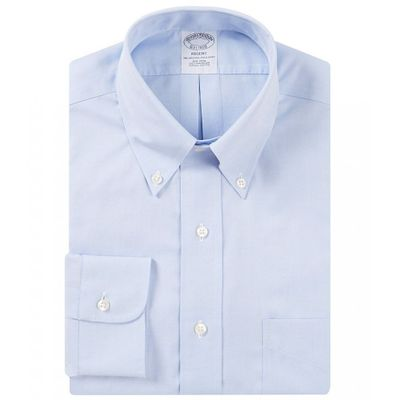 ブルックス シャツ Non-Iron Regent Fit Button-Down-Collar Solid Dress Shirt Light Blue