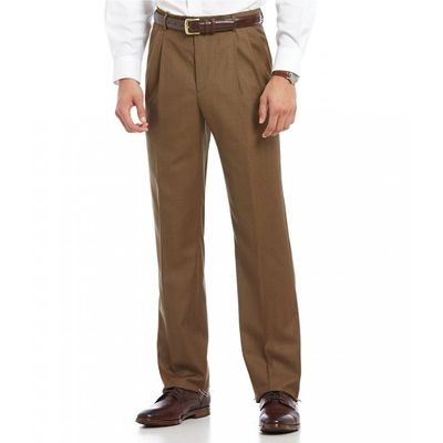 サントレッリ スラックス Luxury Classic-Fit Pleated Wool Dress Pants Tobacco