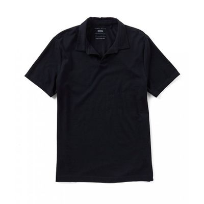 ペリー エリス ポロシャツ Solid Open Collar Short-Sleeve Polo Shirt Black
