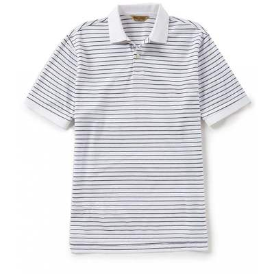 ラウンドトゥリーアンドヨーク ポロシャツ Gold Label Roundtree & Yorke Short-Sleeve Stripe Polo White