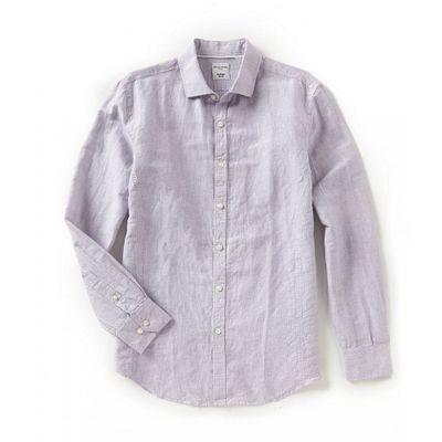 ムラノ シャツ Slim-Fit Stripe Linen Long-Sleeve Woven Shirt Purple