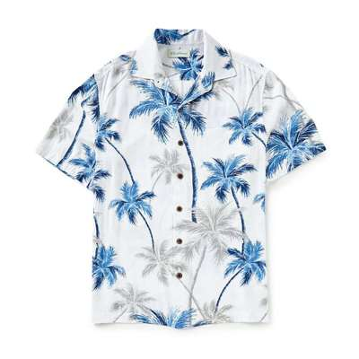 カリビアン 半袖シャツ Big and Tall Ray Palms Tree Print Short-Sleeve Woven Shirt White