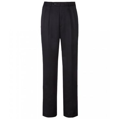 ラウンドトゥリーアンドヨーク スラックス Travel Smart Non-Iron Pleated Ultimate Comfort Microfiber Stretch Dress Pants Navy