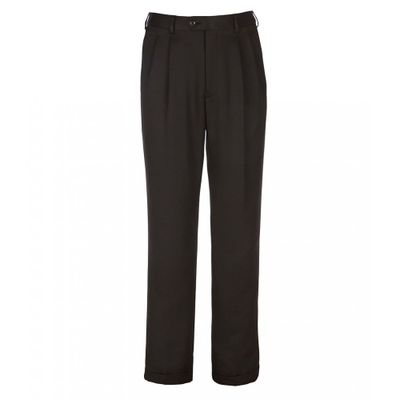 ラウンドトゥリーアンドヨーク スラックス Travel Smart Non-Iron Pleated Ultimate Comfort Microfiber Stretch Dress Pants Black