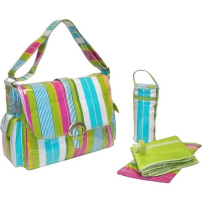 カレンコム ハンドバッグ Laminated Buckle Bag Paradise Stripes Aqua