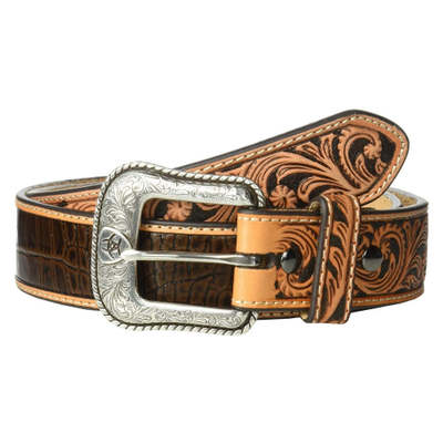 アリアト ベルト Croc Embossed with Turquoise Stone Belt Brown