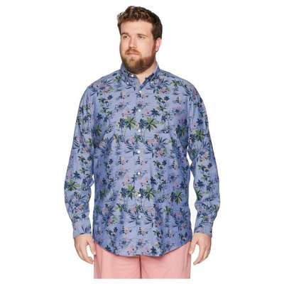 ノーティカ シャツ Big & Tall Large Palm Print Shirt Blue Depths