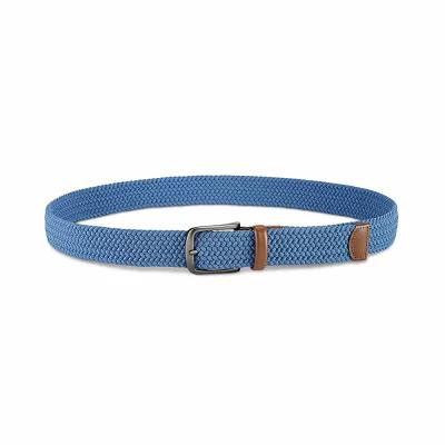 ペリー エリス Perry Ellis ベルト Webbed Leather-Trim Belt Blue