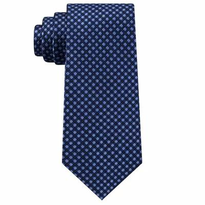 マイケル コース Michael Kors ネクタイ Checkerboard Gingham Silk Tie Navy
