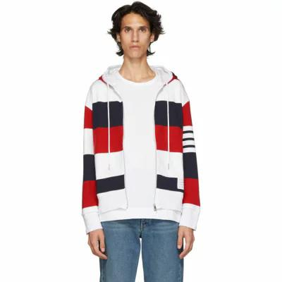 トム ブラウン Multicolor Thom Browne パーカー トム Multicolor Rugby Stripe Zip-Up Hoodie Hoodie, アンティークマイクS:eff7003f --- jphupkens.be