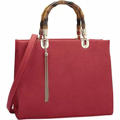 ダーザイン Dasein ハンドバッグ Bamboo Handle Smooth Leather Medium Satchel Red